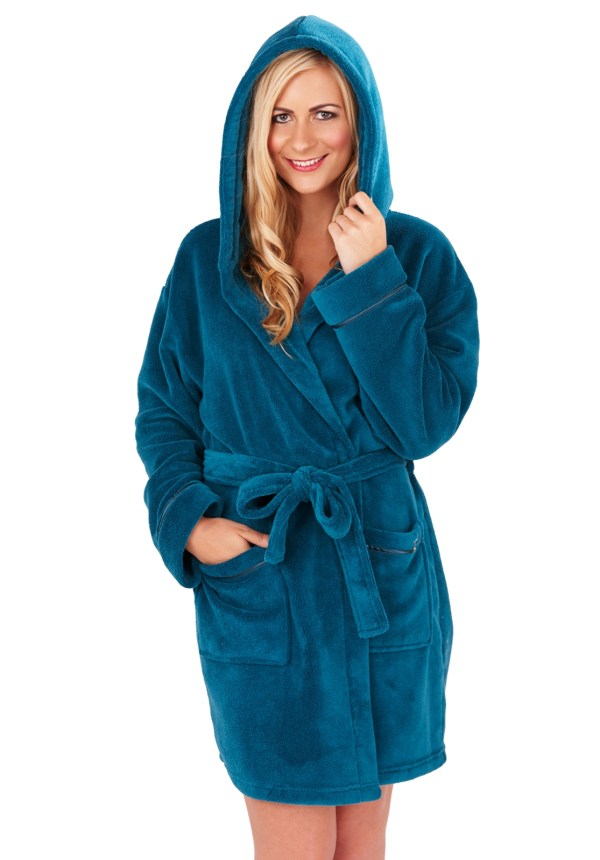 Womens Hooded Short Bath Robe Dressing Gown Housecoat With Belt Ladies Sm-xl