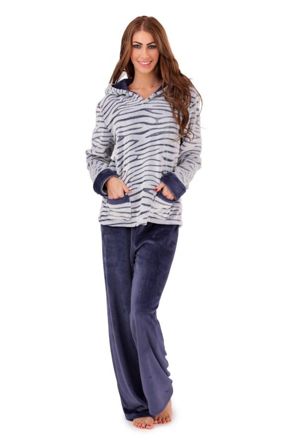 Womens Fleece Lounge Pants Hooded Jumper Set Warm Pyjamas Nightwear Size 8-16