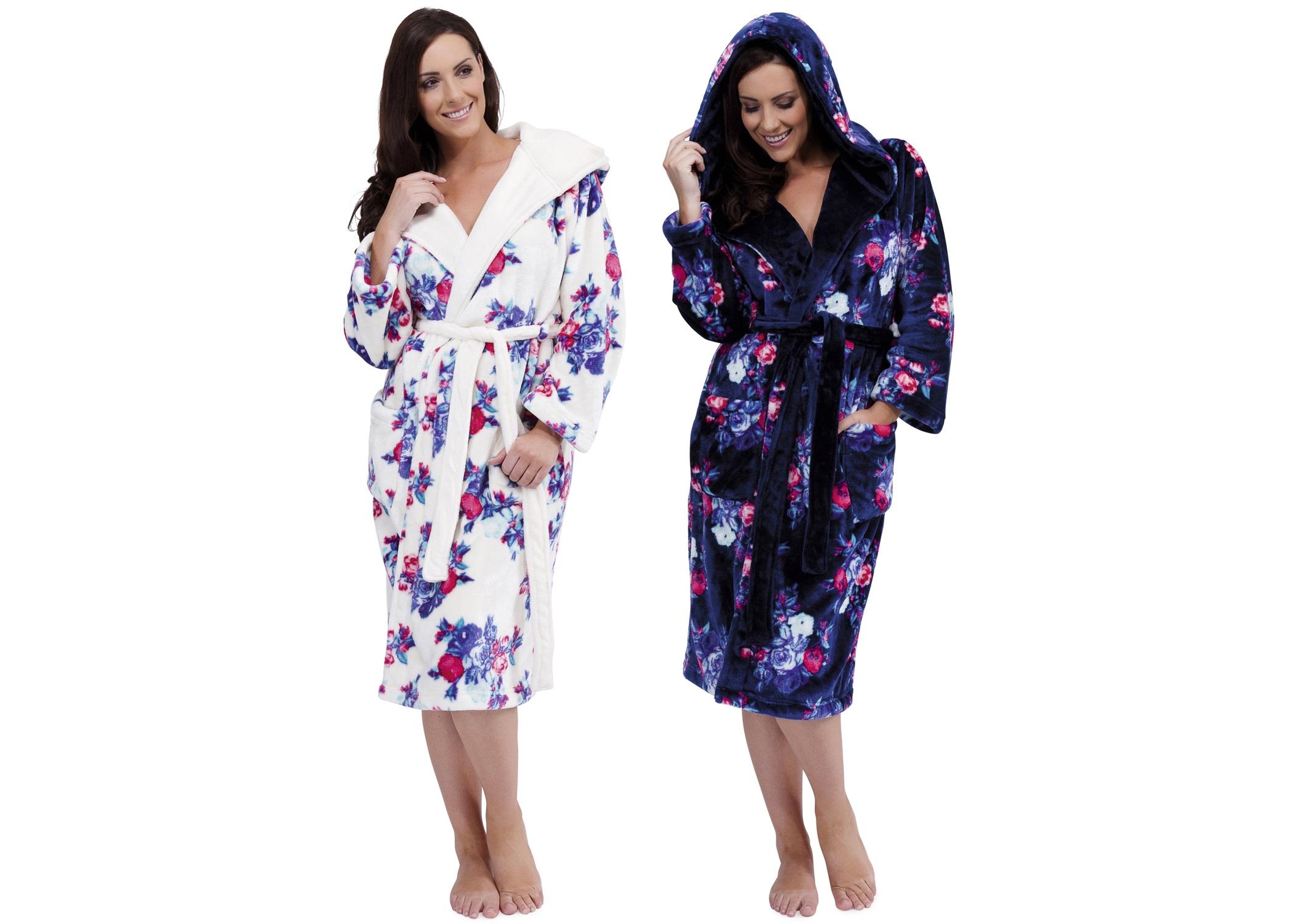 Womens Luxury Soft Fleece Long Robes Dressing Gown