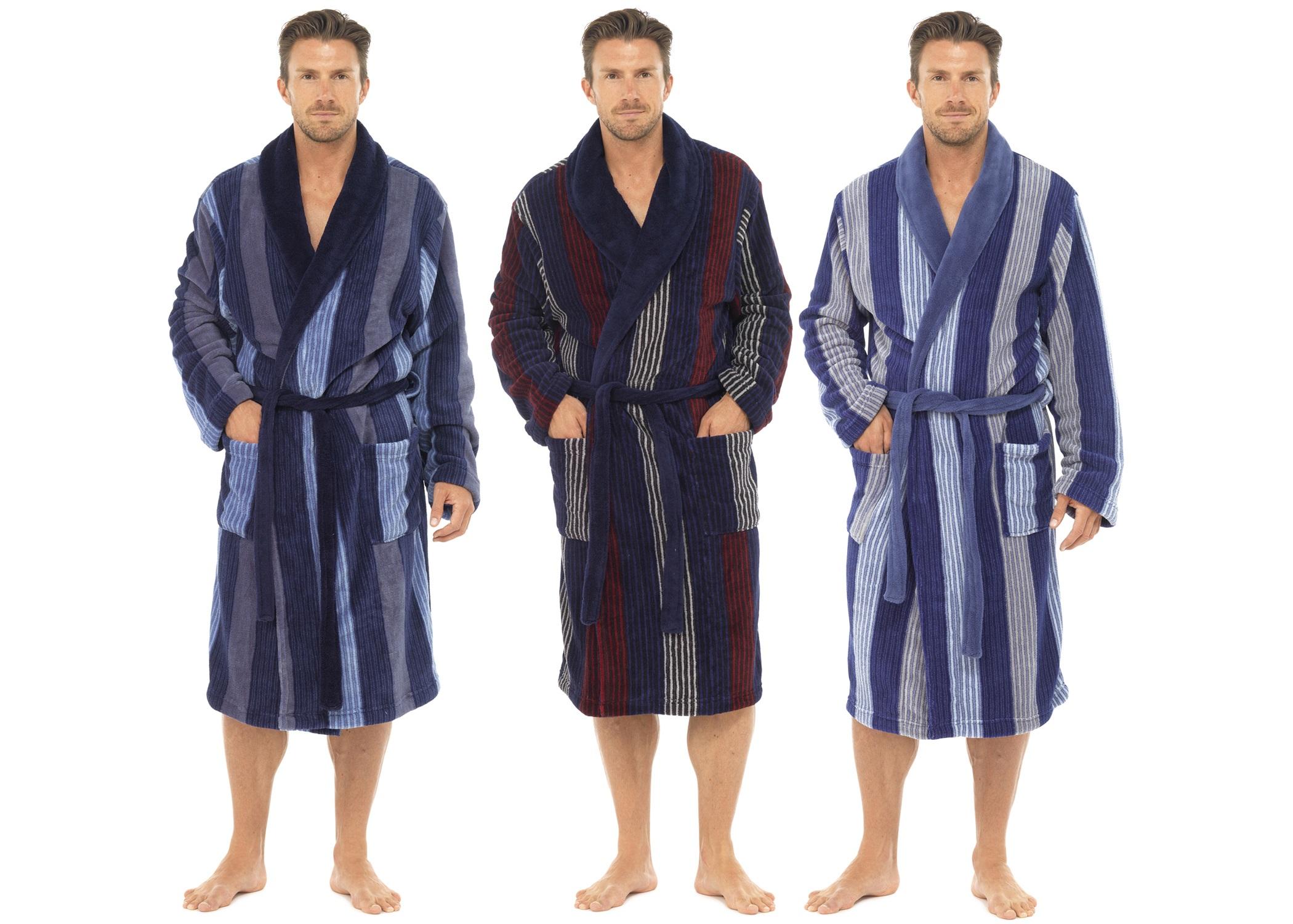 Mens Luxury Full Length Velour Fleece Robe Dressing Gown