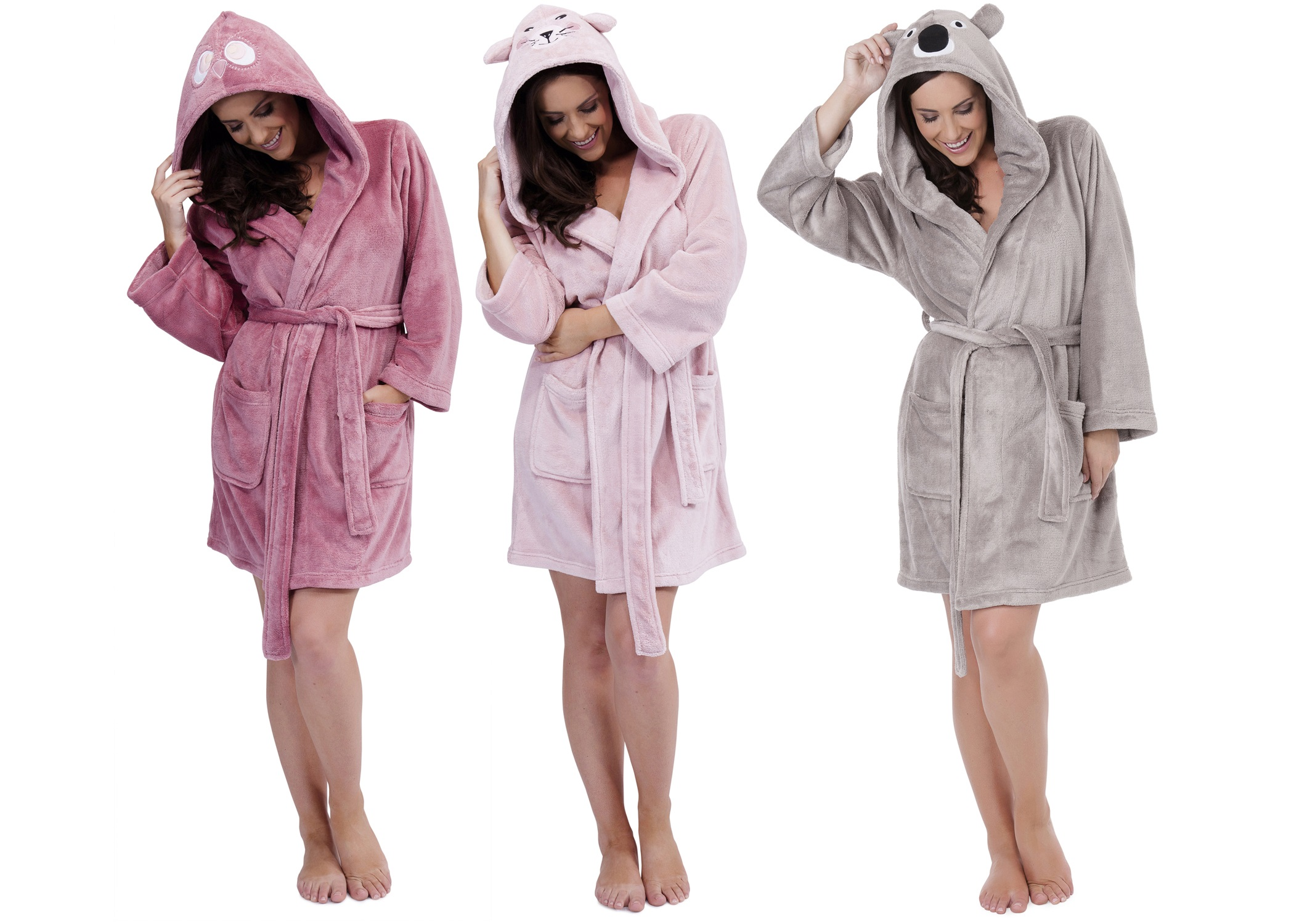 WOMENS HOODED SHORT BATH ROBE DRESSING GOWN HOUSECOAT WITH