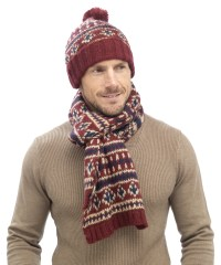 Mens Luxury Fairisle Cable Knit Slouch Beanie Bobble Hat ...