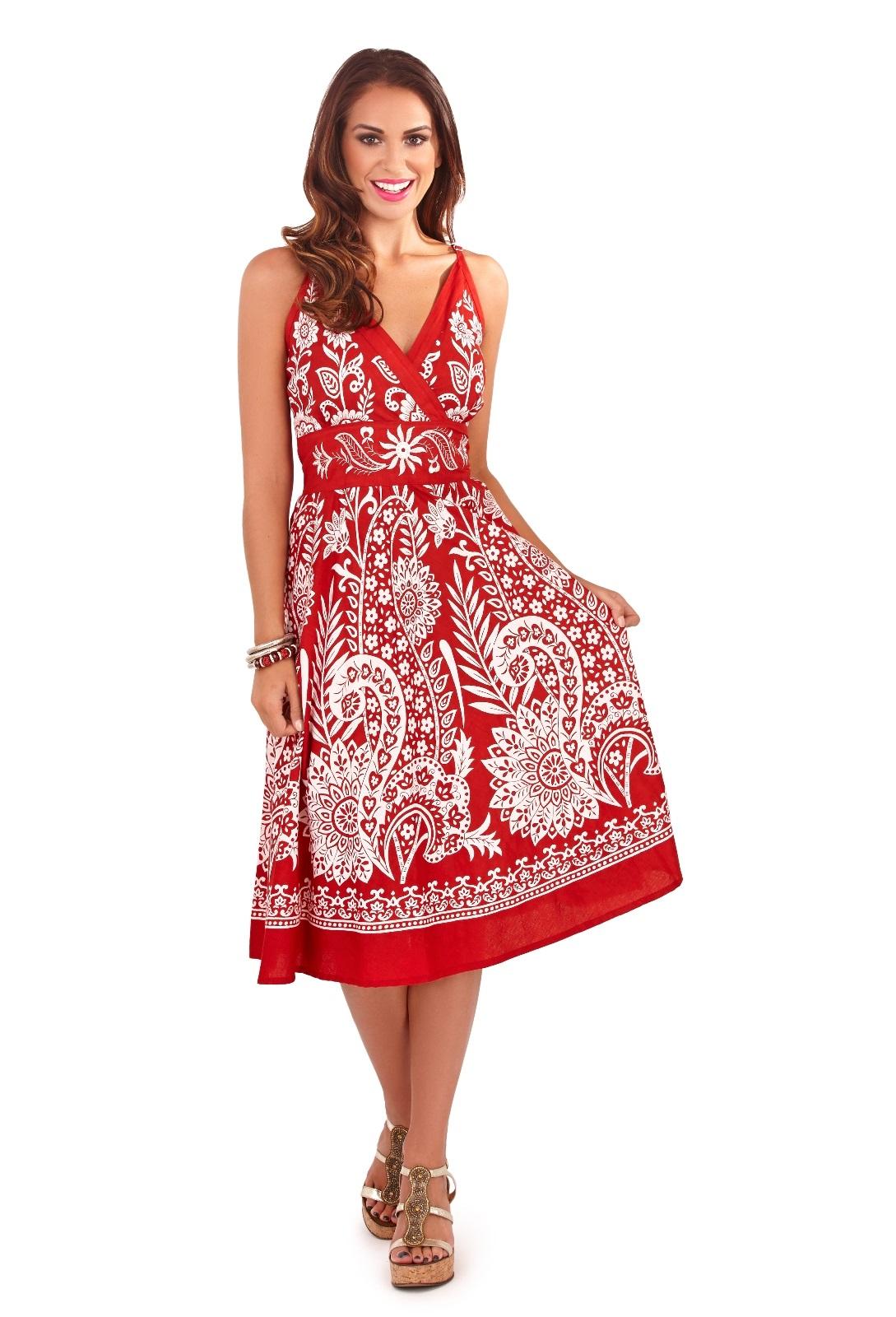 Womens Summer Dress 100 Cotton V Neck Floral Mid Length