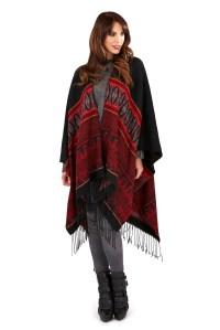 Womens Warm Winter Poncho Wrap Knitted Shawl Throw Cape ...
