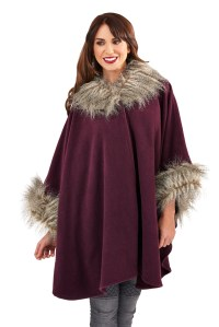 WOMENS LADIES FUR COLLAR SHAWL THROW CAPE COAT WRAP WINTER ...