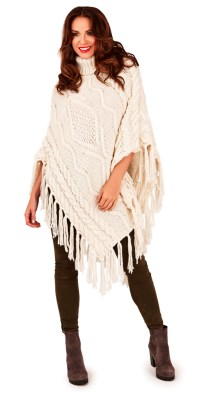 Womens Warm Winter Luxury Poncho Wrap Knitted Shawl Throw ...