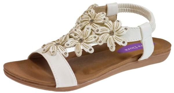 Womens Elastic Strap Diamante Flower Sandals Ladies Open