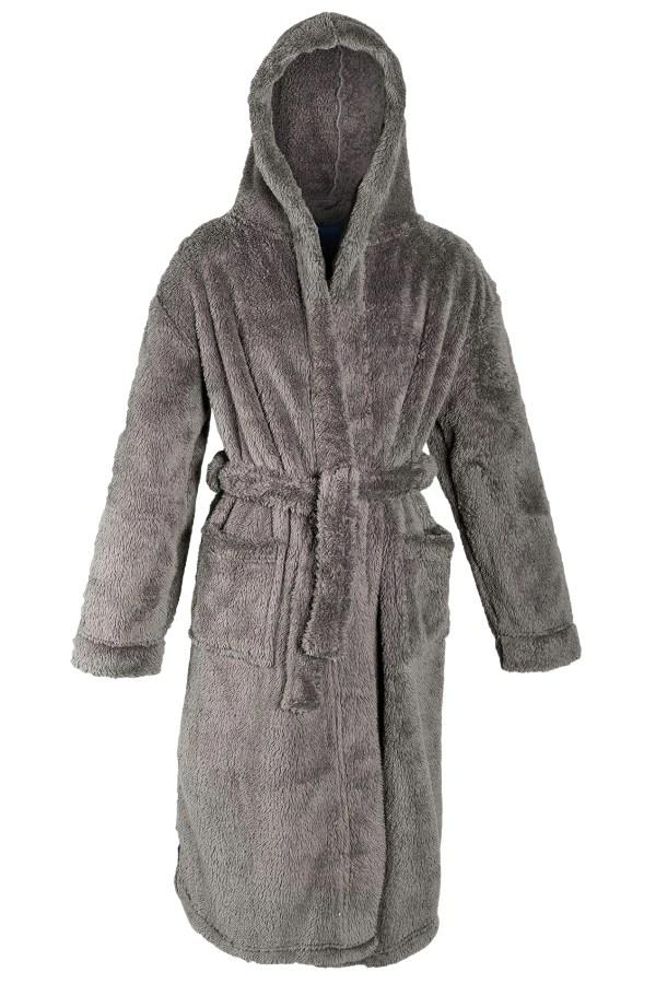 Boys Luxury Hooded Dressing Gown Fleece Bath Robe Housecoat Kids Xmas Size