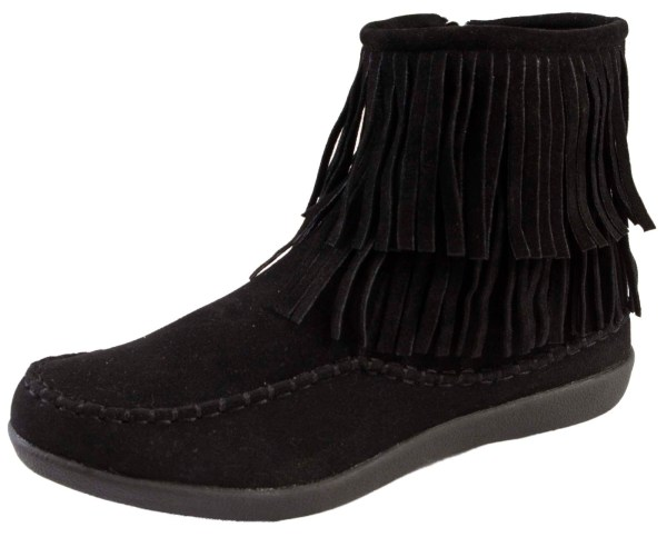 Girls Womens Tassel Ankle Boots Faux Suede Flat Moccasin Zip Shoes Ladies Size