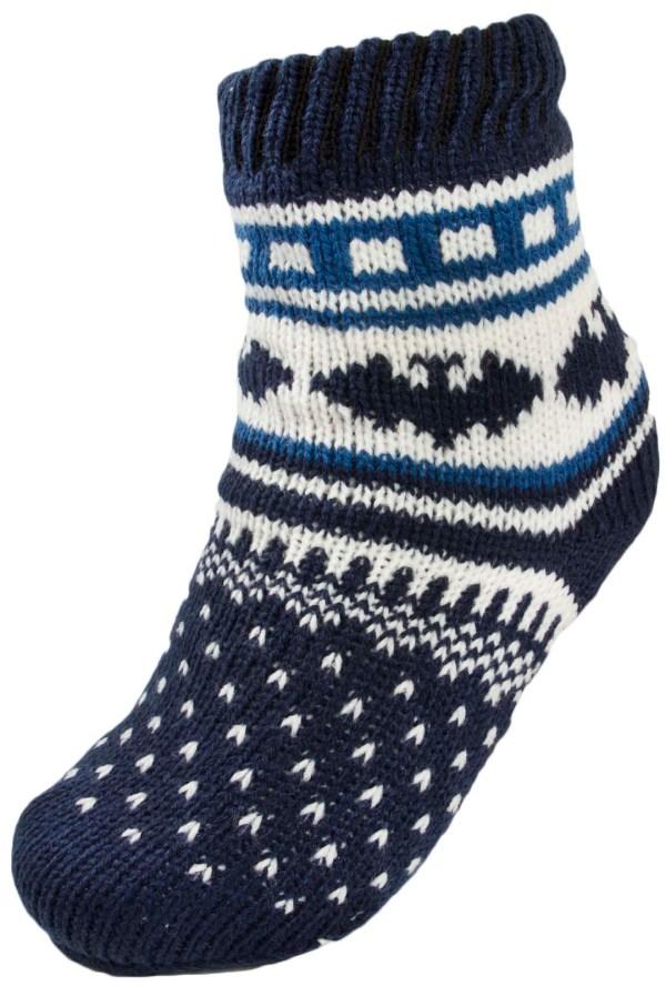 Boys Girls Warm Fleece Lined Fairisle Slipper Socks