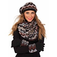 WOMENS KNITTED TRIANGLE BERET HAT GLOVES SNOOD SCARF SET ...