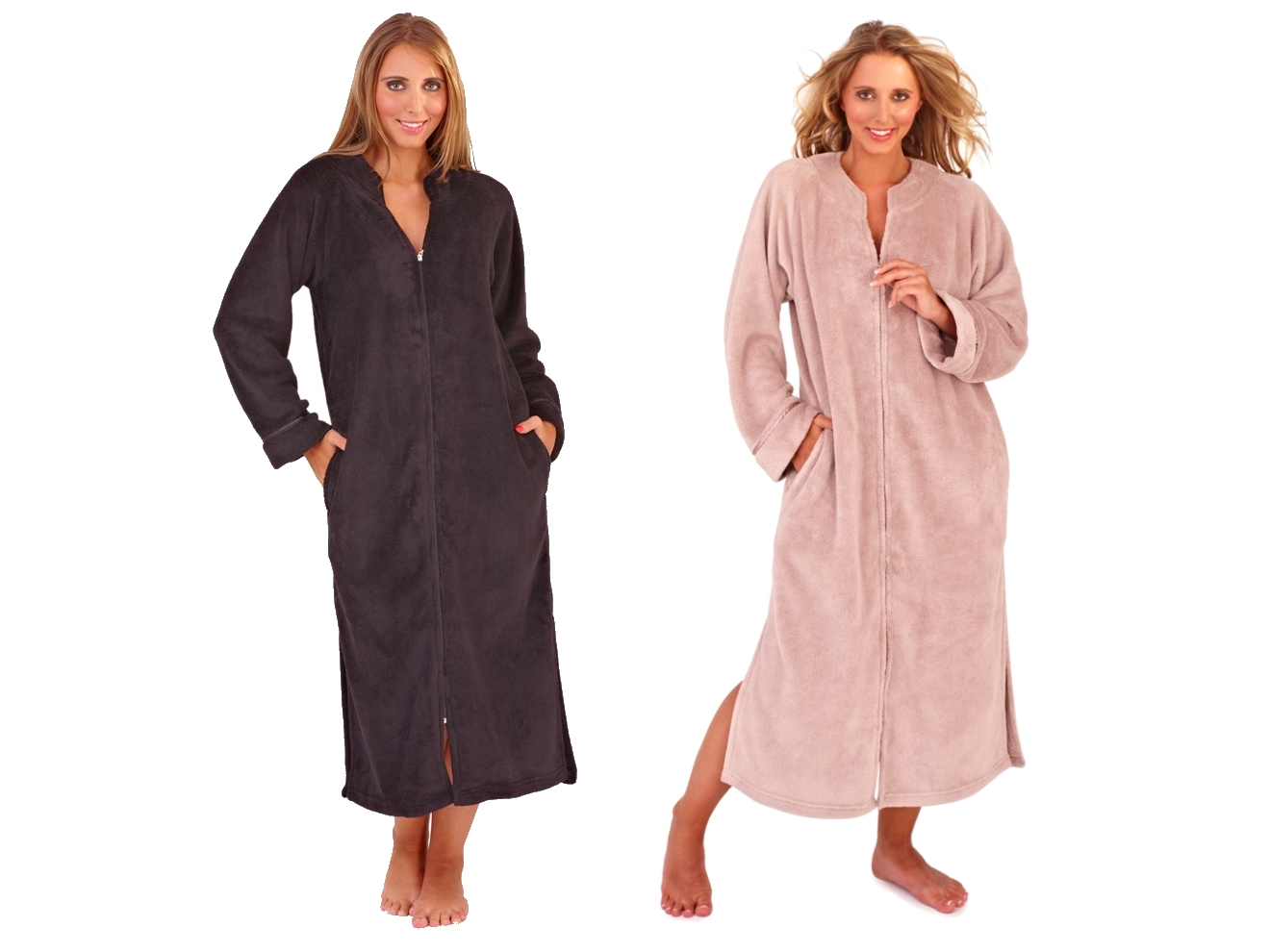WOMENS FULL LENGTH FLEECE BATH ROBE DRESSING GOWN