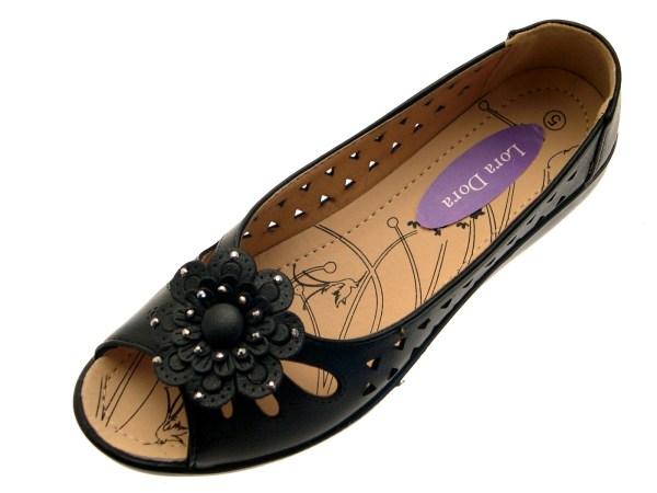 Womens Faux Leather Comfort Cut Flat Shoes Flower