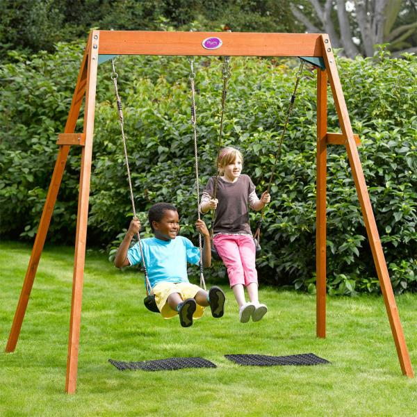 Plum Outdoor Garden Childrens Double Swing Wooden Frame Fun Play Set Swings Urban Trading