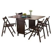 Dining Table & Four Chairs Rich Chocolate Space Saving