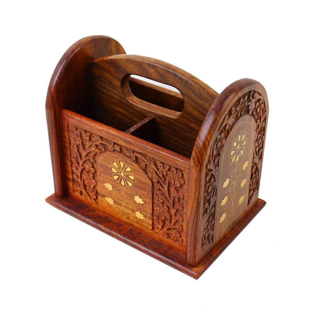 Remote Control Stand Hand Carved Wooden Holder Organiser