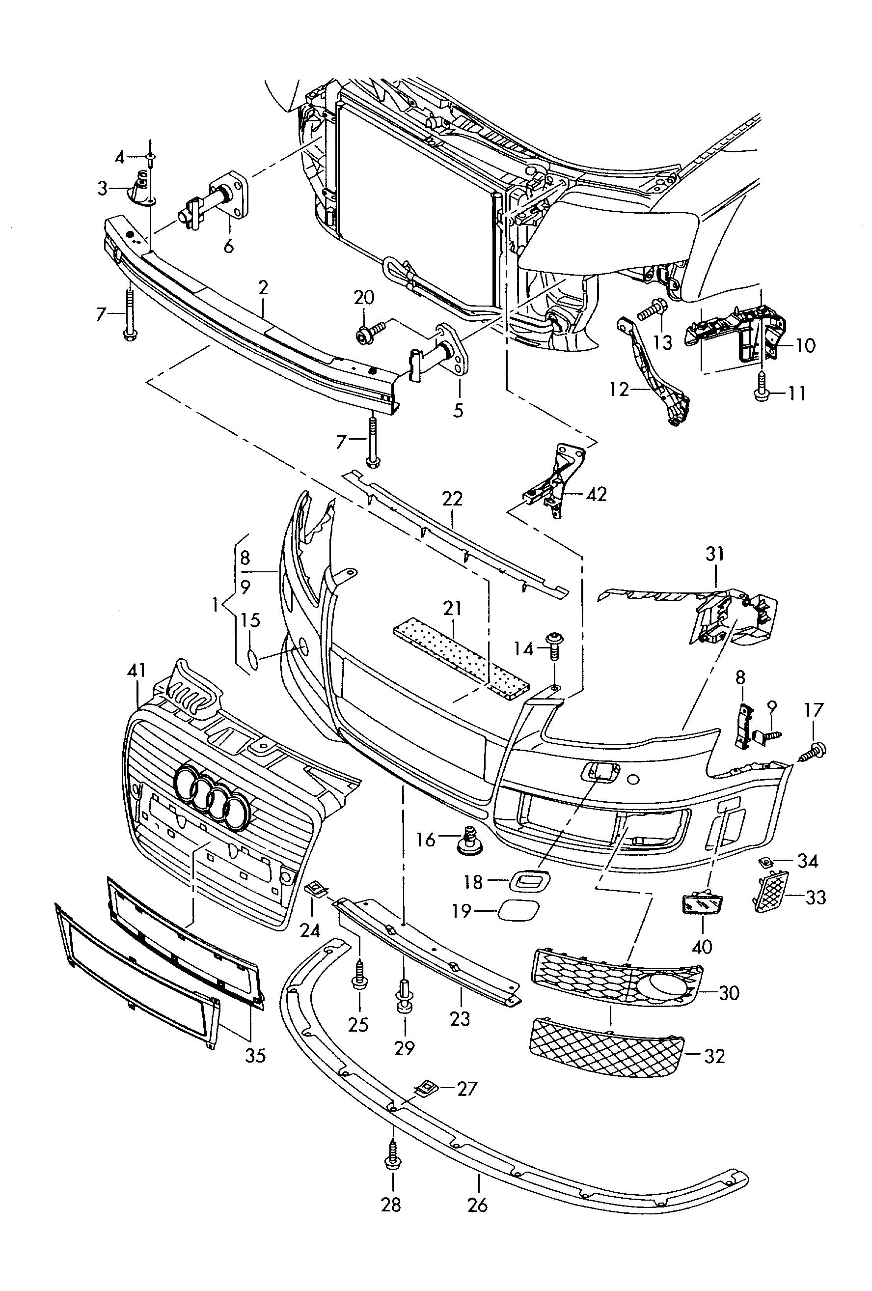 Audi 8e Rs4 Cabrio Strip Attachment Bumper 8e