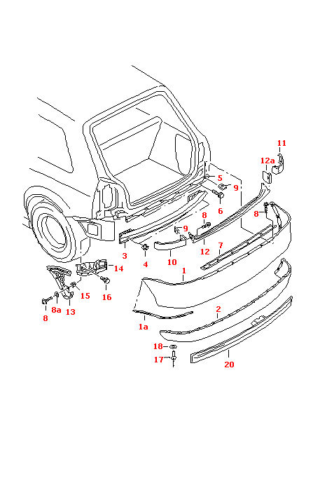 AUDI A3 1997-2000 MODELS RIGHT REAR BUMPER GUIDE PROFILE