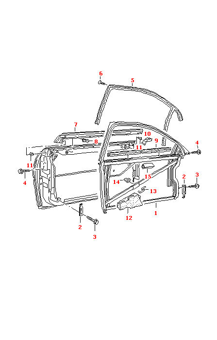 AUDI A3 1997-2003 2 DOOR FRONT LEFT DOOR OUTER WINDOW