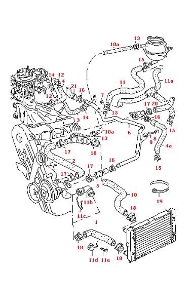VW PASSAT 1988-1993 COOLANT HOSE AUTOMATIC VEHICLES ONLY
