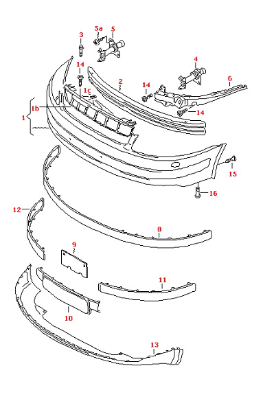 VW PASSAT 1997-2000 RIGHT O/S FRONT BUMPER GUIDE PROFILE