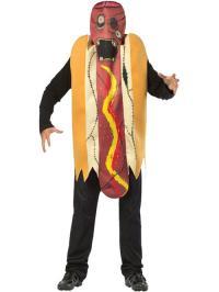 Adult Zombie Hot Dog Fancy Dress Costume Halloween Undead ...