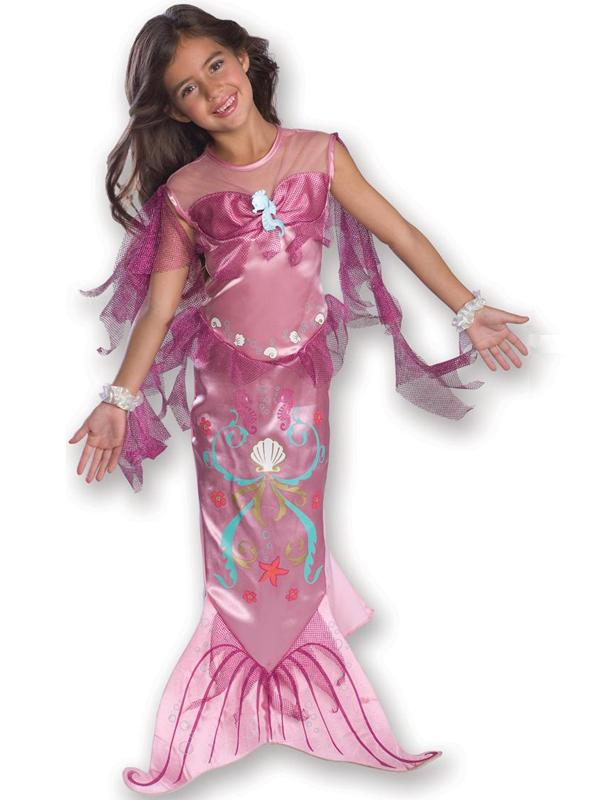 Child Pink Little Mermaid Fancy Dress Costume Kids Girls