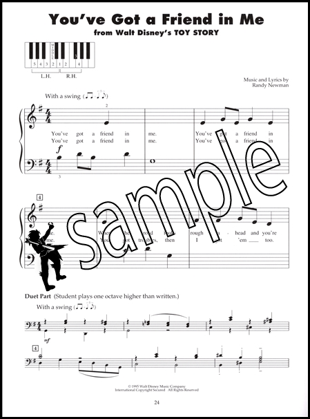 Disney Tunes Five 5 Finger Piano Really Very Easy Sheet