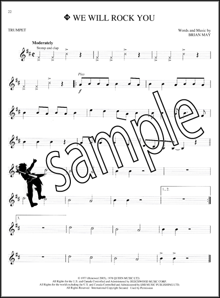 Queen Instrumental Play-Along Trumpet Sheet Music Book