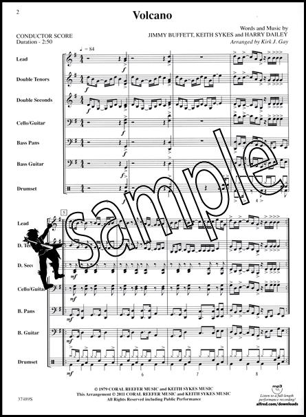 Volcano Pop Steel Drum Ensemble Sheet Music Score & Parts