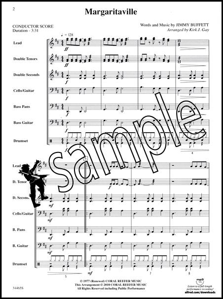 Margaritaville Pop Steel Drum Ensemble Sheet Music Score