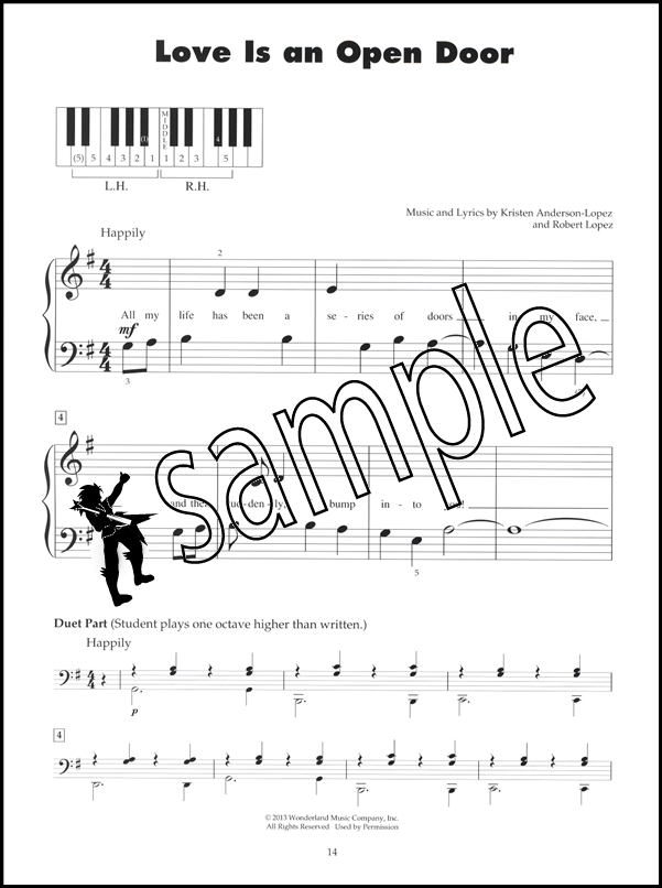Frozen Five 5-Finger Piano Very Easy Sheet Music Book