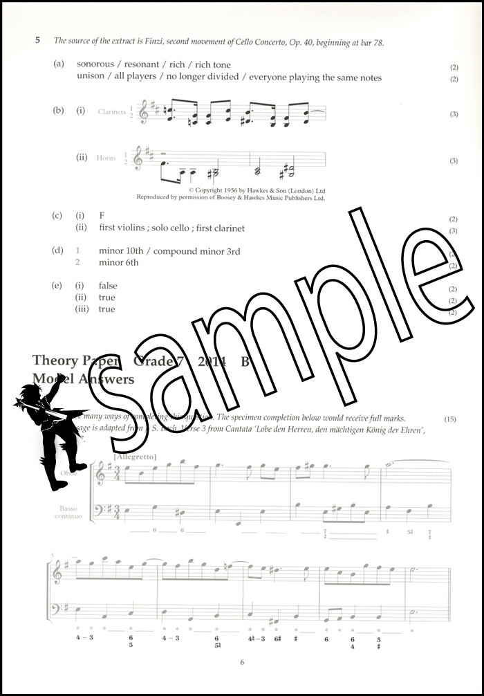 Music Theory Past Papers 2014 Model Answers Abrsm Grade 7