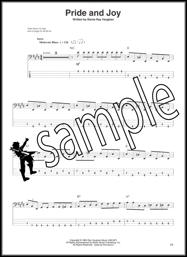 Stevie Ray Vaughan Bass Guitar Play-Along TAB Music Book