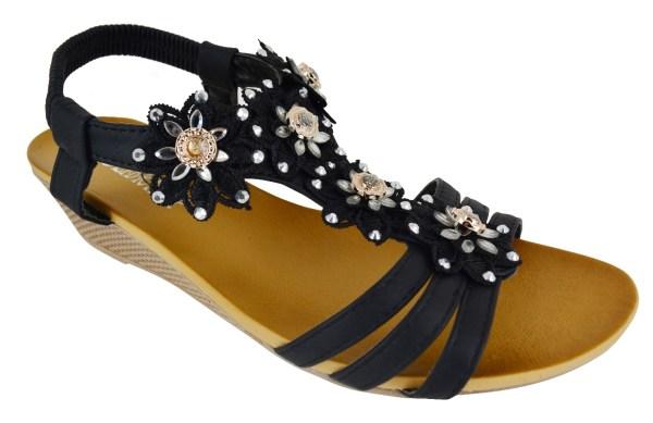 Womens Ladies Big Sizes Summer Heel Wedge Flower