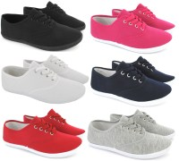 LADIES WOMENS PLIMSOLES LACE UP FLAT PUMPS PLIMSOLLS ...