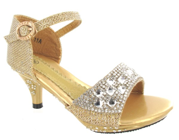 Girls Mid High Heel Wedding Party Birdesmaid Diamante