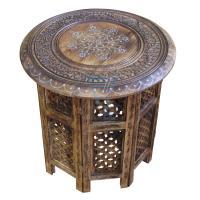 Large Side Table with Aluminium Inlay Indian Mango Wood ...