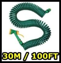 NEW 30M RETRACTABLE GARDEN COIL HOSE PIPE & SPRAY GUN | eBay
