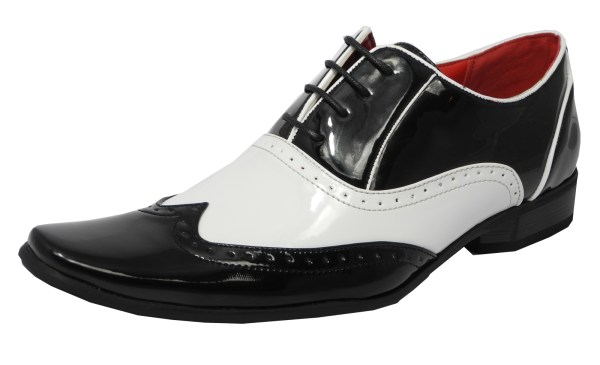 Mens Patent Shiny Spats Brogues Gatsby Shoes White Black
