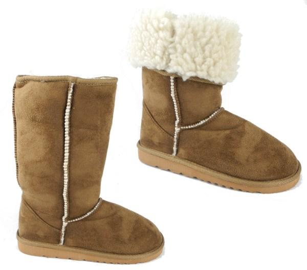 Girls Faux Fur Sheepskin Micro Suede Boots Tan Brown Size 11 12 13 1 2 3