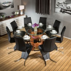Round Table 8 Chairs Tank Chair Aalto Stunning Glass Top Walnut Dining 43 Black Z