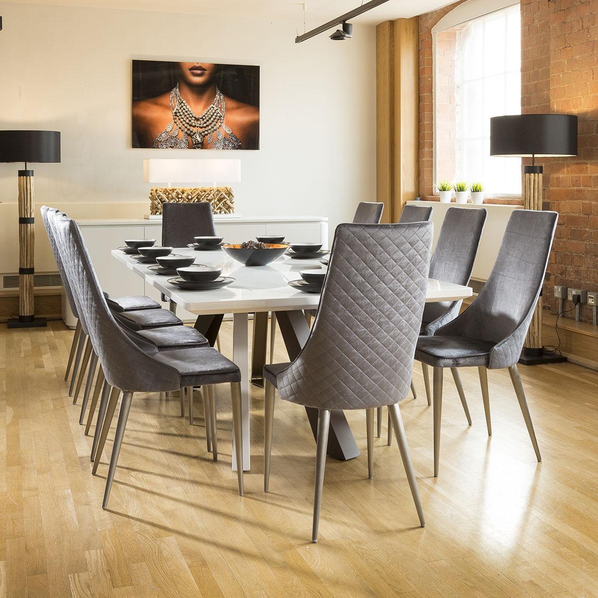 modern grey dining chairs uk high chair that folds flat set of 2 sleek velvet back