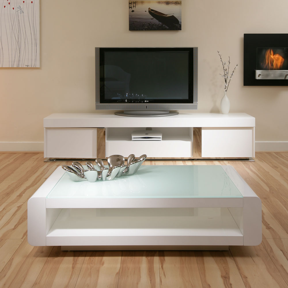 Modern White Coffee Table White Coffee / Lamp / Side Table Glass Top Modern New