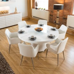 Round Kitchen Table For 6 Free Remodel Large White Gloss Dining Lazy Susan Chairs 1619 Sentinel