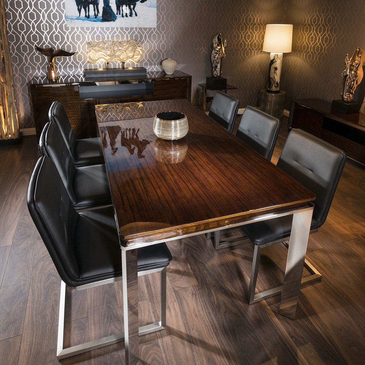 Teak Dining Room Chairs Details About Rectangular Golden Teak Dining Table 1 8m 6 Black Cantilever Chairs