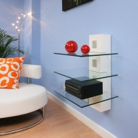 Hi Fi / TV Stand Shelving White Glass Shelves Wall Mounted ...