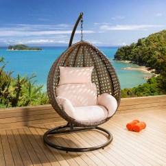 Hanging Chair Luxury Lafuma Anti Gravity Garden Brown Mix Rattan Cream Cushion