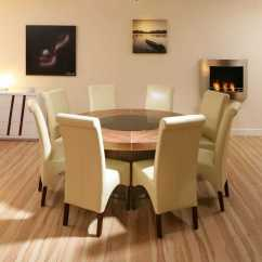 The Revolving Chair Base Large Papasan Round Walnut Dining Table With 8 High Back Ivory Leather Chairs