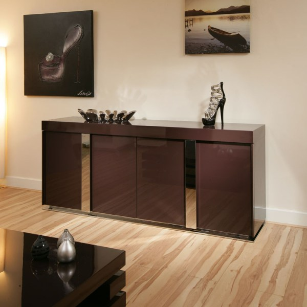 Modern Plum Purple Gloss Sideboard Cabinet Buffet 2